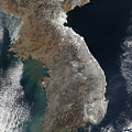 Satellite View Of Snowfall Along South by Stocktrek Images