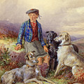 Scottish Boy With Wolfhounds In A Highland Landscape by James Jnr Hardy