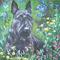 Scottish Terrier In The Garden by Lee Ann Shepard
