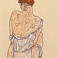 Seated Woman In Underwear by Egon Schiele