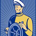 Ship Captain At The Helm  by Aloysius Patrimonio
