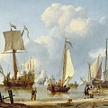 Ships In Calm Water With Figures By The Shore by Abraham Storck