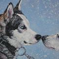 Siberian Huskies In Snow by Lee Ann Shepard