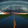 Single Lane Road Leading To Storm Cloud by Don Hammond