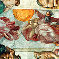 Sistine Chapel Ceiling Creation Of The Sun And Moon by Michelangelo