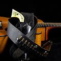 Six Gun And Guitar On Black by M K  Miller