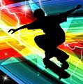 Skateboarder In Criss Cross Lightning by Elaine Plesser