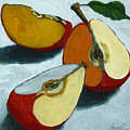 Sliced Apple Still Life Oil Painting by Linda Apple