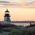 Solitude At Brant Point Light Nantucket by Henry Krauzyk