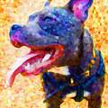 Staffordshire Bull Terrier In Oil by Michael Tompsett