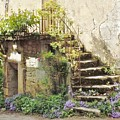 Stairway With Flowers Flavigny France by Marilyn Dunlap