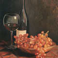 Still Life With Wine And Grapes by Anna Rose Bain