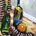Still Life With Wine Bottles by Piotr Antonow