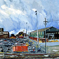 Stormy Sky Over Shipyard And Steel Mill by Asha Carolyn Young