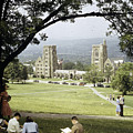 Students Sit On A Hill Overlooking by Volkmar Wentzel