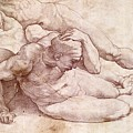 Study Of Three Male Figures by Michelangelo