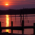 Sunset At Colonial Beach by Clayton Bruster