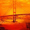Sunset At Golden Gate by Helmut Rottler