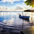 Sunset In A Fishing Village by George Oze