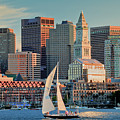 Sunset Sails On Boston Harbor by Susan Cole Kelly