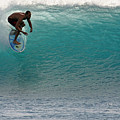Surfer Dropping In The Blue Waves At Dumps Maui Hawaii by Pierre Leclerc Photography