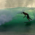 Surfer Surfing Blue Waves At Dumps Maui Hawaii by Pierre Leclerc Photography