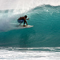 Surfer Surfing In The Tube Of Blue Waves At Dumps Maui Hawaii by Pierre Leclerc Photography