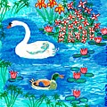 Swan And Duck by Sushila Burgess