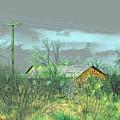 Texas Farm House - Digital Painting by Merton Allen