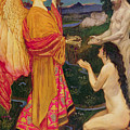The Angel Offering The Fruits Of The Garden Of Eden To Adam And Eve by JBL Shaw