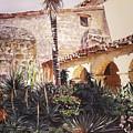 The Cactus Courtyard - Mission Santa Barbara by David Lloyd Glover