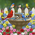 The Colors Of Spring - Bird Fountain In Flower Garden by Crista Forest