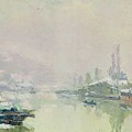 The Ile Lacroix Under Snow by Albert Charles Lebourg