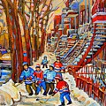 The Red Staircase Painting By Montreal Streetscene Artist Carole Spandau by Carole Spandau