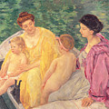 The Swim Or Two Mothers And Their Children On A Boat by Mary Stevenson Cassatt