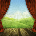 Theater Stage With Red Curtains And Nature Background  by Setsiri Silapasuwanchai