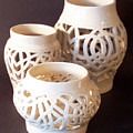 Three Interlaced Design Wheel Thrown Pots by Carolyn Coffey Wallace
