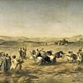 Threshing Wheat In Algeria by Adolphe Pierre Leleux