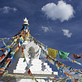Tibetan Stupa With Prayer Flags by Michele Burgess