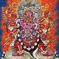 Tibetan Thangka  - Wrathful Deity Hayagriva by Serge Averbukh