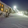 Timberline Lodge Mt Hood Snow Drifts At Night by Dustin K Ryan