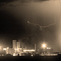 To The Right Budweiser Lightning Strike Sepia  by James BO  Insogna