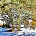 Traditional American Home In Winter by Lanjee Chee