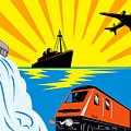 Train Boat Plane And Dam by Aloysius Patrimonio