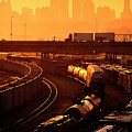 Trains At Sunrise by Don Wolf