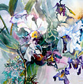 Tropical White Orchids by Mindy Newman