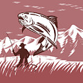 Trout Jumping Fisherman by Aloysius Patrimonio