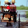 Two Little Amish Boys In A Buggy by Randy Matthews
