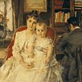 Victorian Family Scene by Alfred Emile Stevens