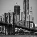 View Of One World Trade Center And Brooklyn Bridge by Matt Pasant